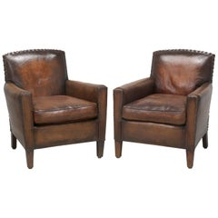 French Leather Club Chairs, Completely Restored