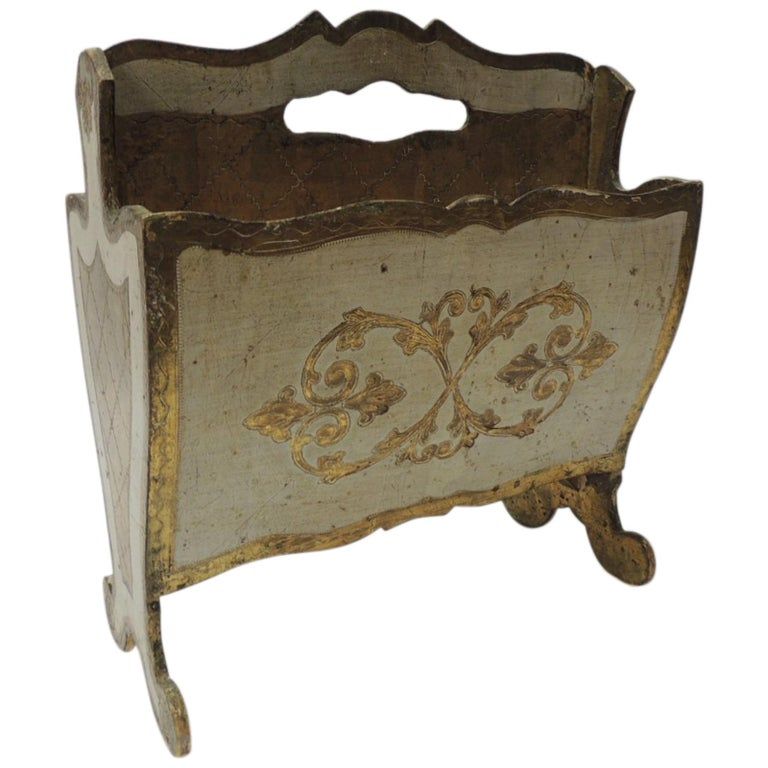 Vintage Italian Florentine Painted and Giltwood Magazine Holder For Sale