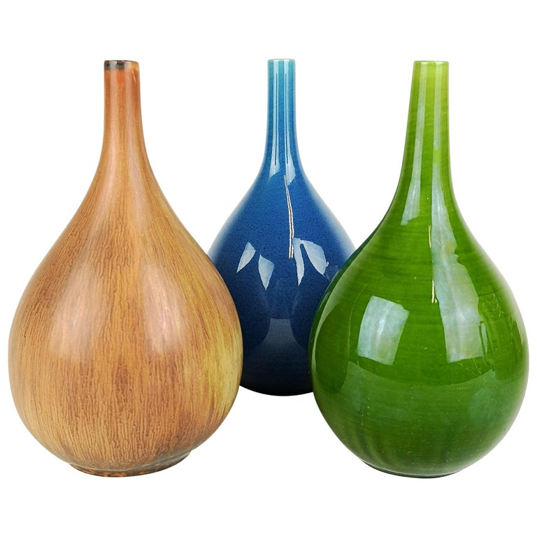 Set of 3 Drop Formed Vases Carl Harry Stålhane Rörstrand Sweden, 1960s For Sale