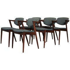 Set of Six Model 42 Rosewood Dining Chairs by Kai Kristiansen, Denmark, 1960s