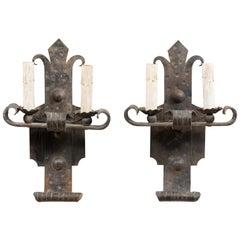 Pair of Midcentury French Fleur-de-Lis Two-Light Iron Sconces