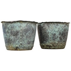 19th Century English Riveted Verdigris Patina Copper Planters or Log Basket Pair