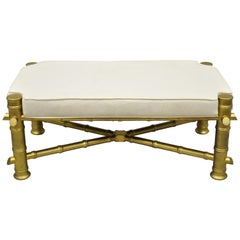 Vintage Gold Faux Bamboo Chinese Chippendale Style Upholstered X-Frame Bench