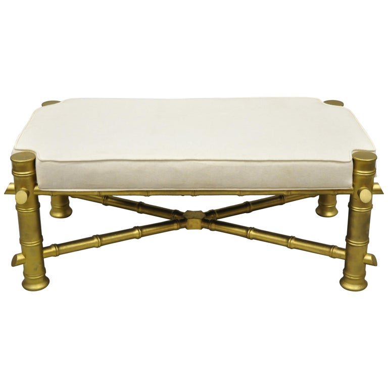 Vintage Gold Faux Bamboo Chinese Chippendale Style Upholstered X-Frame Bench For Sale