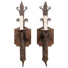 Pair of French Single-Light Iron Sconces from the Mid-20th Century