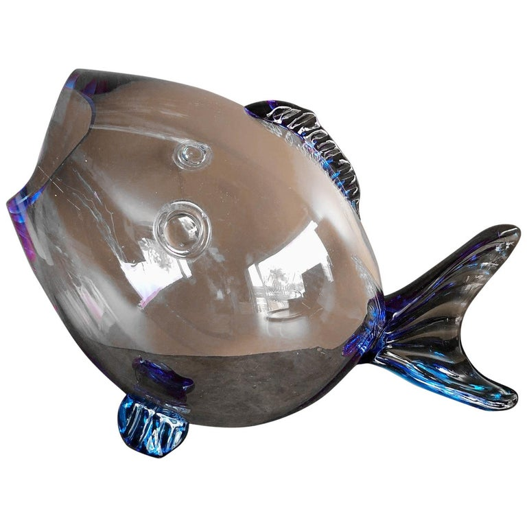 Midcentury Blue Glass Fish Vase by Blenko For Sale