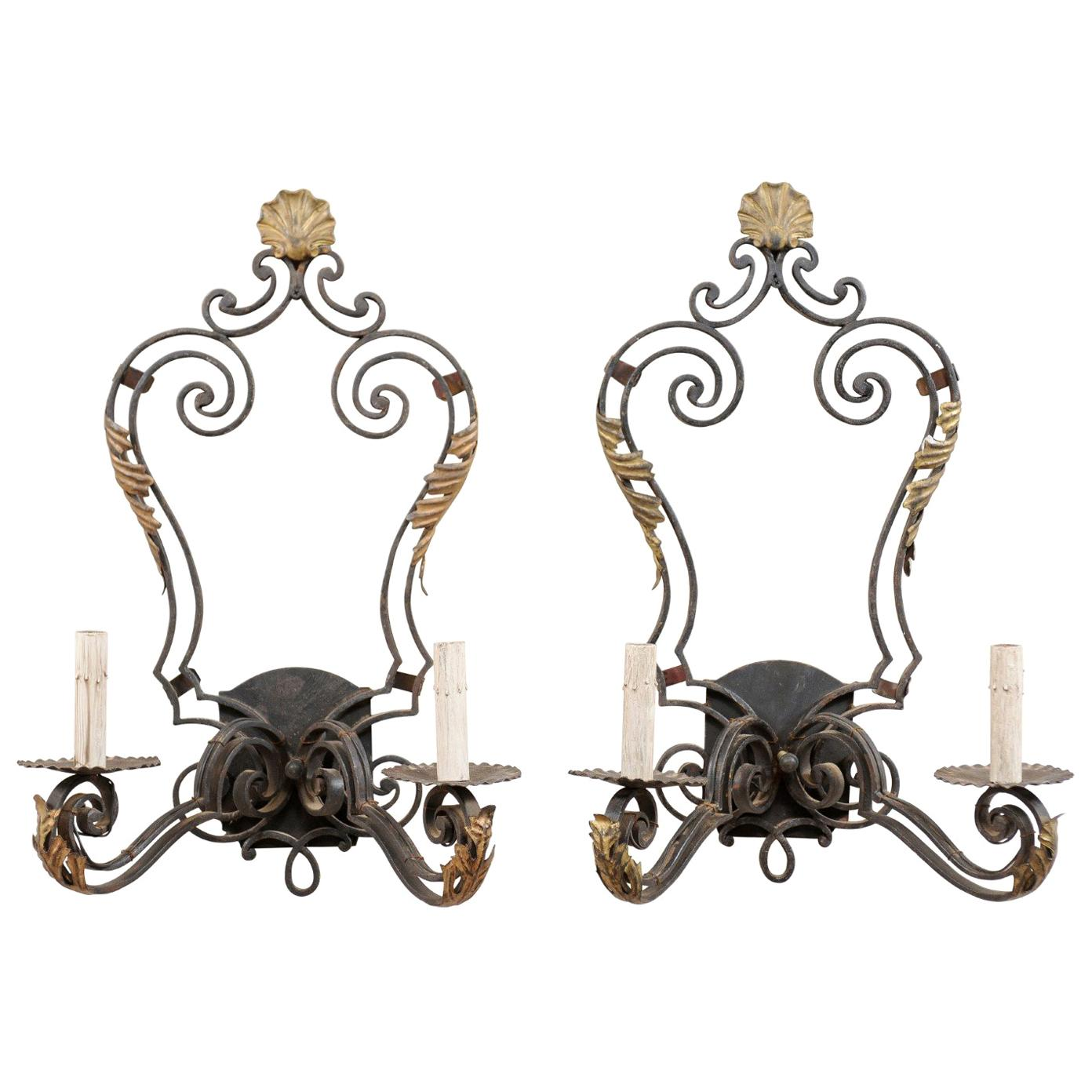 Pair of French Mid-20th Century Black and Gold Iron Sconces