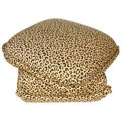 Leopard Turkish Ottoman with Knotted Corners