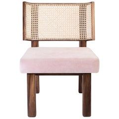 Colima Low Chair Wicker Weaved Back, Contemporary Mexican Design