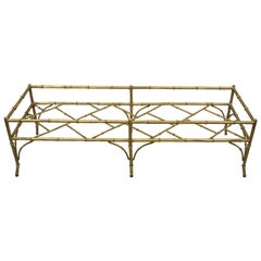 Vintage Italian Hollywood Regency Faux Bamboo Lattice Gold Coffee Table Base