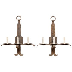 Pair of French Midcentury Three-Light Iron Sconces