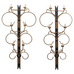 A Fabulous Pair of French Art Deco Style 6 Ft Tall Wall Sconces, Mid-20th C.