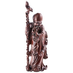 Quality Antique Carved Hardwood Oriental Figure