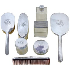 Antique Sterling Silver Engraved Ladies' Vanity Dressing Set