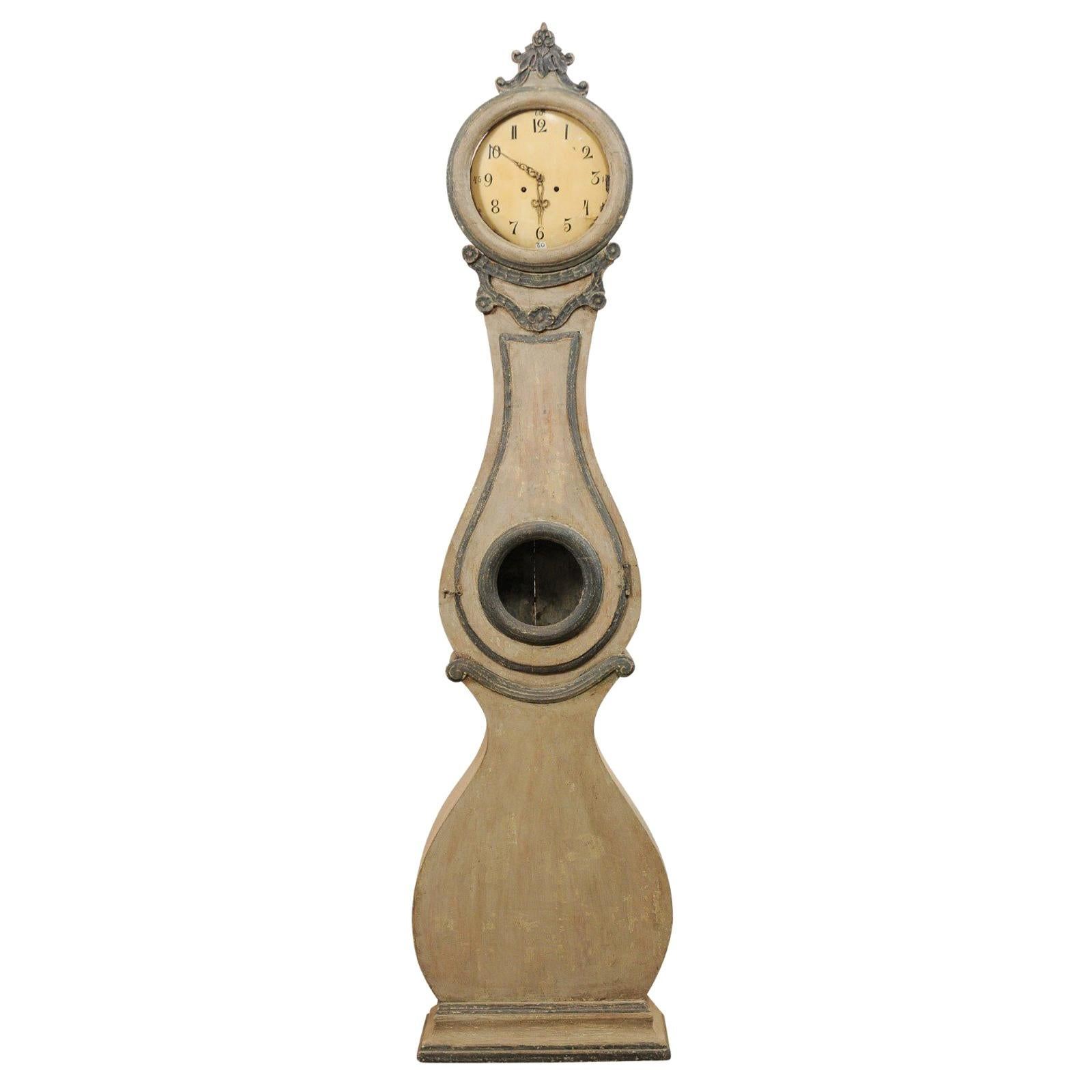 19th Century Swedish Fryksdahl Painted Wood Floor Clock with Carved Crest