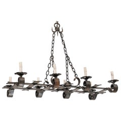 French Mid-20th Century Forged-Iron Chandelier