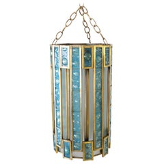 Mexican Modernist Glass and Brass Chandelier by Feders