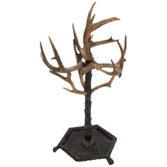 Deer Antler, Carved Wood and Metal Umbrella Stand German, 1910s