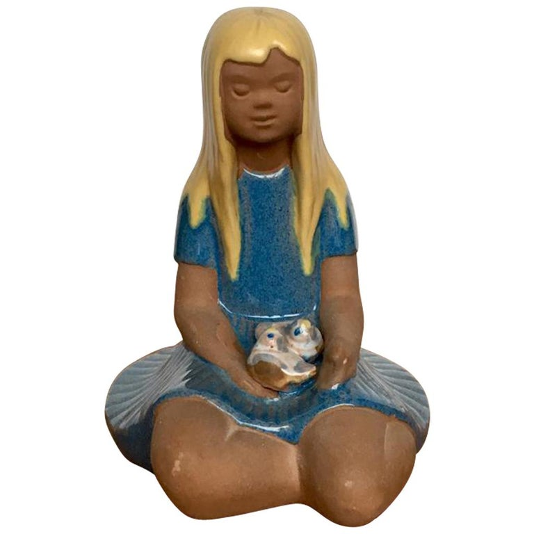 "Vintage Swedish Ceramic Figurine ""Girl with Nestlings"" from Jie Gantofta, 1970s For Sale"