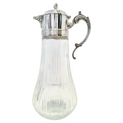 20th Century Italian Silver Plate and Cut Crystal Claret Pitcher