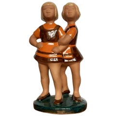 "Vintage Swedish Ceramic Figurine ""Girls"" from Jie Gantofta, 1970s"