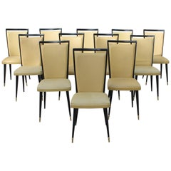 Stunning Set of 12 French Dining Chairs, circa 1940s