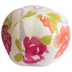 Round Ball Pillow in Watercolor Rose Print