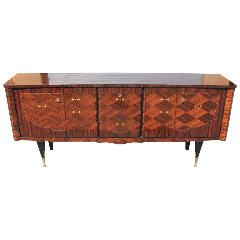 Long French Art Deco Macassar Ebony Mother-Of-Pearl Sideboard / Buffet / Bar . For Sale