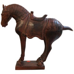 Red Wood Tang Dynasty Model of a Horse , 20th Century