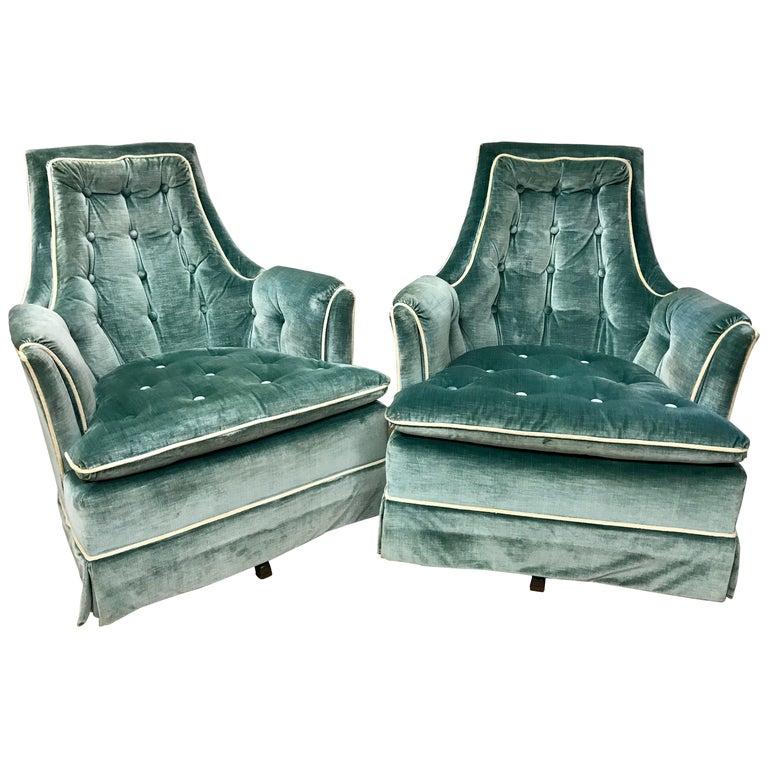Pair of Vintage Drexel Velvet Tufted Swivel Chairs Rockers For Sale