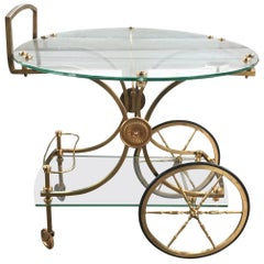 Maison Charles Bar Cart in Vibrant Brass and Glass