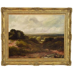 Oil on Canvas, Landscape with Distant Village, 19th Century