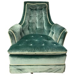 Vintage Drexel Velvet Tufted Swivel Lounge Chair Rocker