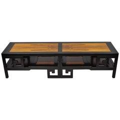 Michael Taylor for Baker Rosewood Black Greek Key Asian Long Coffee Table