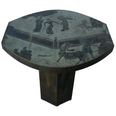 Signed Philip & Kelvin LaVerne Etched Enameled Bronze Tao Occasional Table