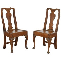 English Georgian Period Pair of Oak Side Chairs, 18th Century