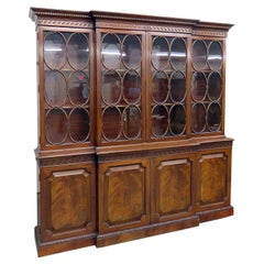 Old Baker Individual Glass Georgian Flame Mahogany Breakfront Bookcase C1920s