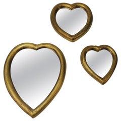 Set of 3 Florentine Gold Leaf Hearts Mirrors