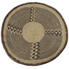 Vintage Woven Seagrass Ethnic Round African Flat Basket
