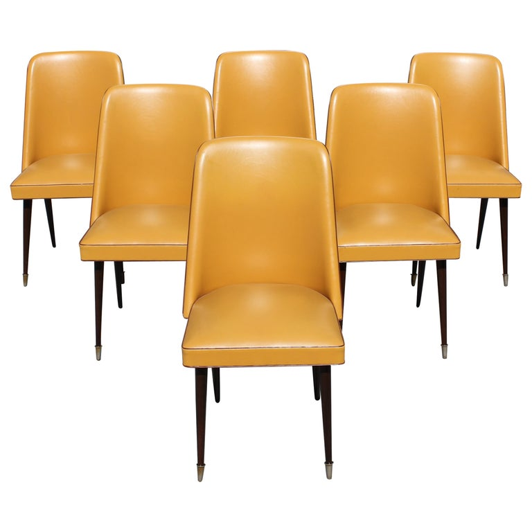 Beautiful Set of 6 French Art Deco Solid Mahogany Gondola Dining Chairs For Sale