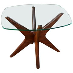 Adrian Pearsall Walnut and Glass Jacks Side Table, Mid-Century Modern