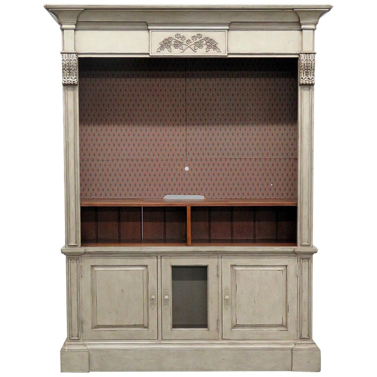 Regency Style Distressed Painted Entertainment Center
