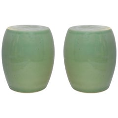 Celadon Glazed Porcelain Stools