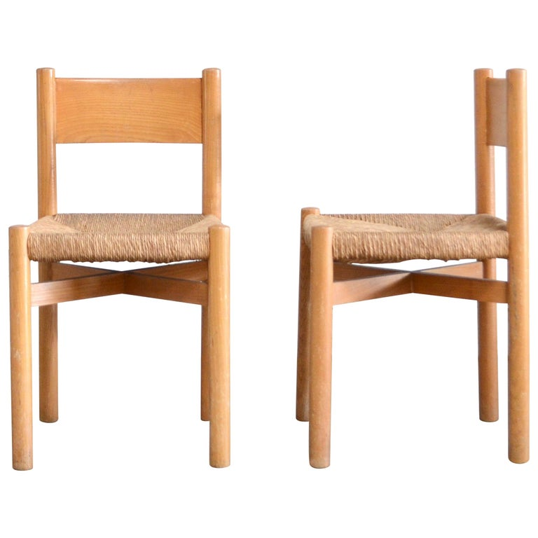 Pair of Meribel Chairs Chair  by Charlotte Perriand, circa 1950 For Sale