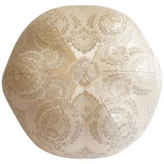 Round Ball Pillow in Satin with Embroidered Damask Pattern