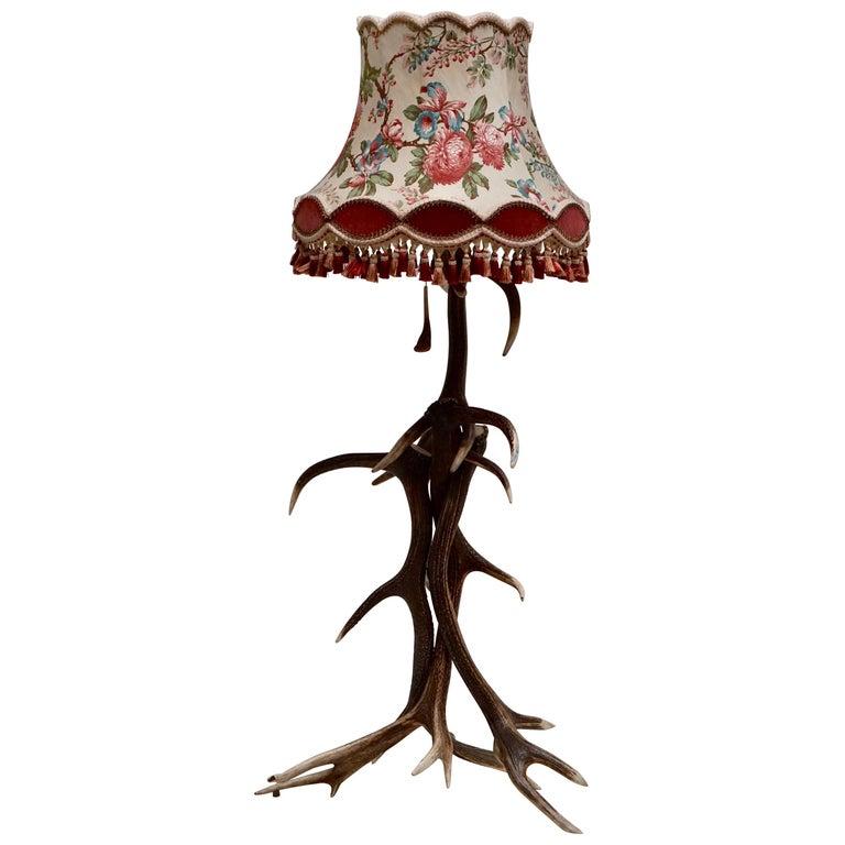 Impressive Rustic Deer Antler Floor Lamp, 1950s, Austria For Sale