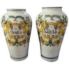 Pair of Italian Faience Spice Urns