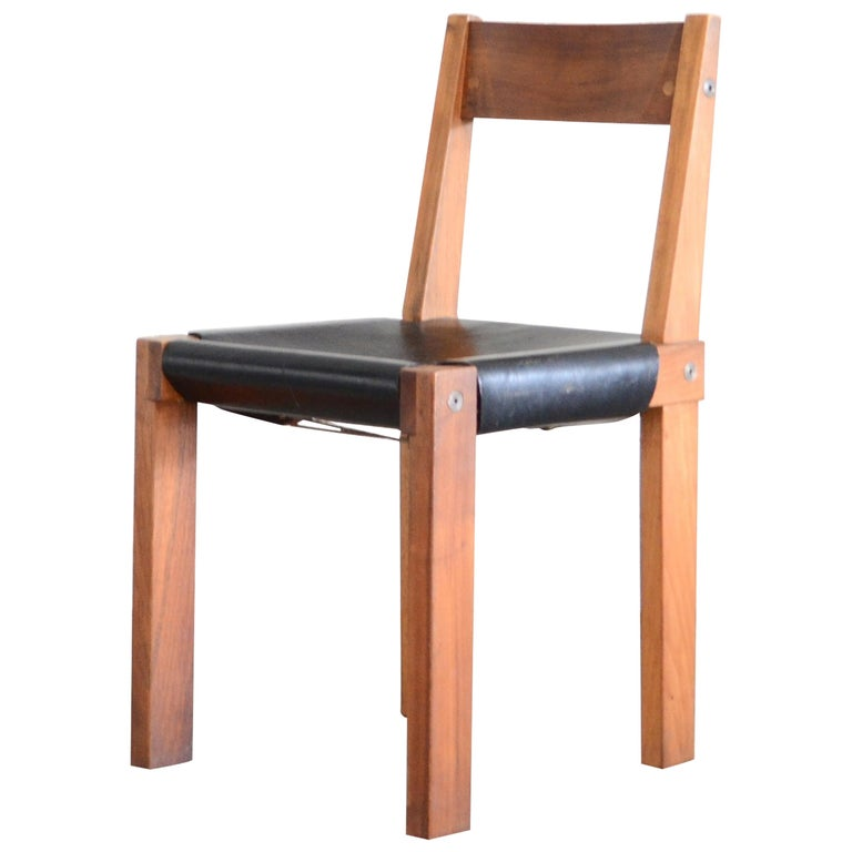 Vintage Pierre Chapo Model S24 Saddle Leather Chair, circa 1970 For Sale
