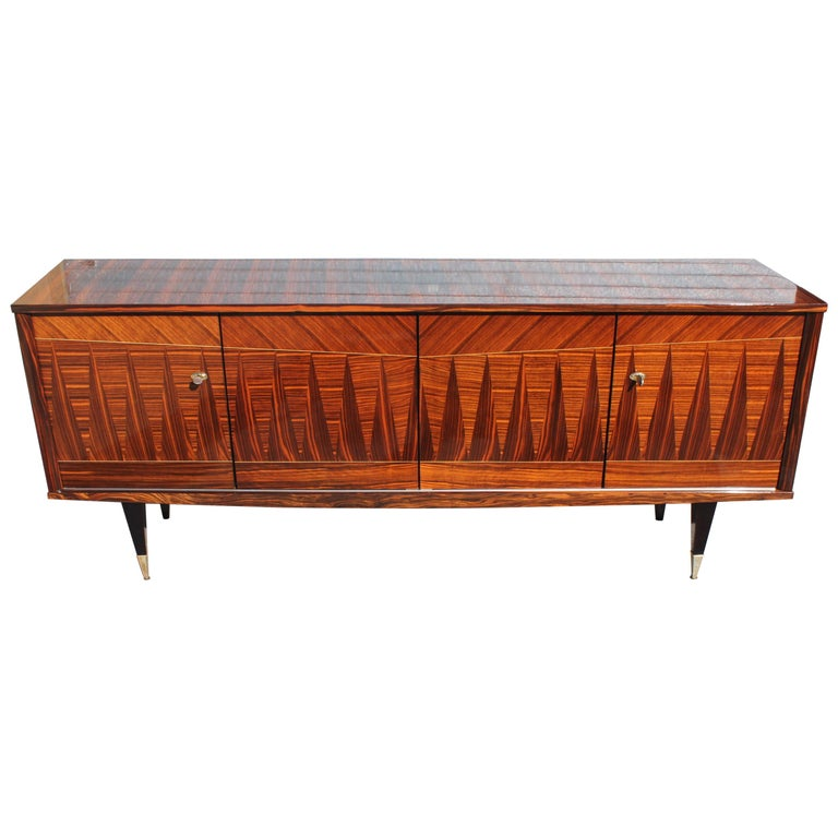 "French Macassar Ebony""Diamond Inlay'' Sideboard/Buffet, circa 1940s For Sale"