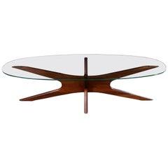 Adrian Pearsall Walnut and Glass Jacks 893-TGO Oval Coffee Table